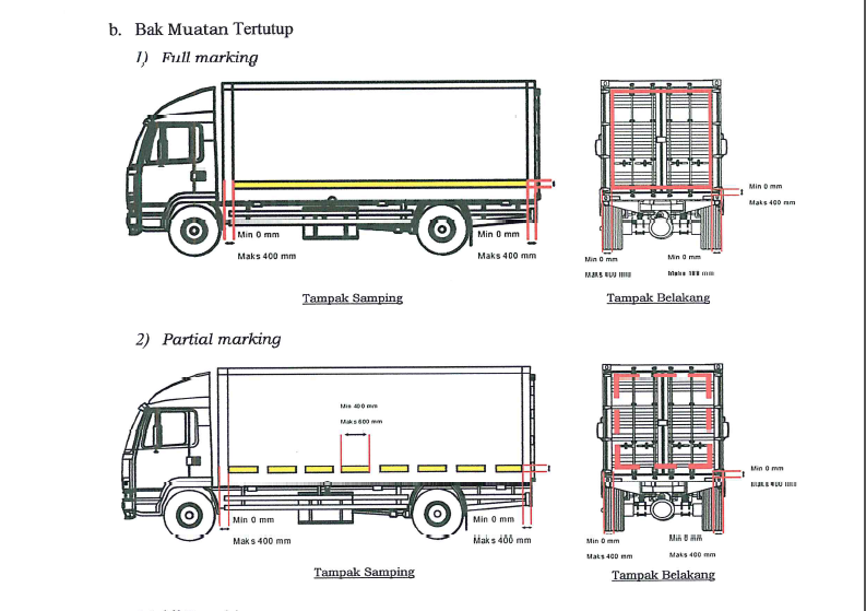Pemasangan stiker pemantul cahaya tambahan pada kendaraan bak muatan terututp