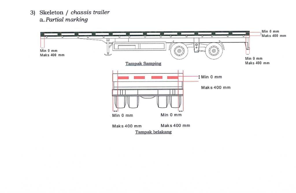 Alat pemantul cahaya tambahan pada Kereta Chassis Trailer