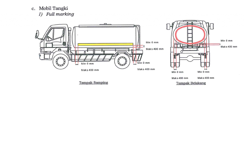 Cara pasang stiker pemantul cahaya tambahan pada truk tangki